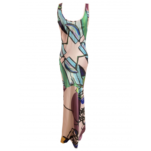 Satsuma Dress - Sırtı Düğme Detaylı Uzun Verev Kesim Elbise