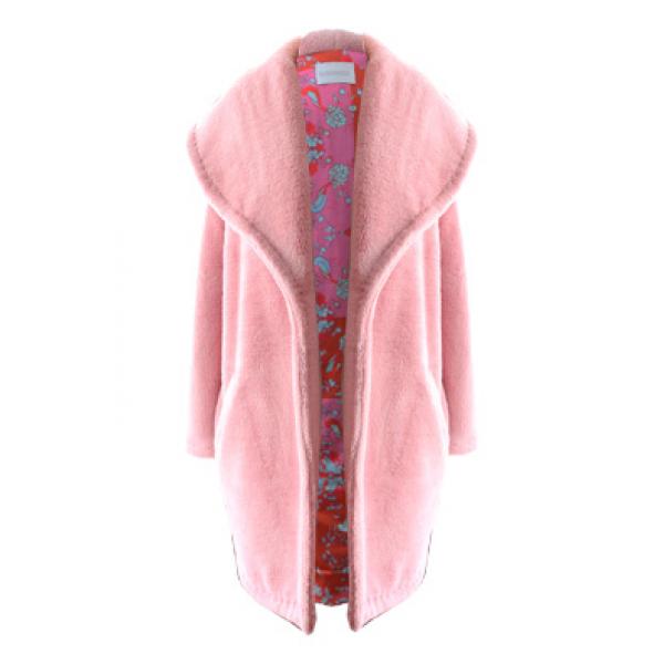 Marshmellow Jacket- Sırtı Nakış Detaylı Pembe Peluş Palto Marshmellow Jacket- Sırtı Nakış Detaylı Pembe Peluş Palto
