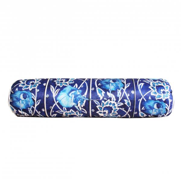 Blue Tile Silindir Saten Yastık