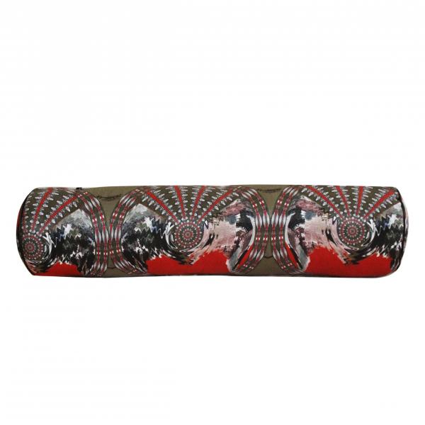 Khaki Dreamy Tile Series Silindir Saten Yastık  Khaki Dreamy Tile Series Silindir Saten Yastık