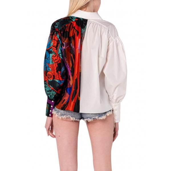Yingyang Shirt - Yarısı %100 İpek Desenli Poplin Gömlek Yingyang Shirt - Yarısı %100 İpek Desenli Poplin Gömlek