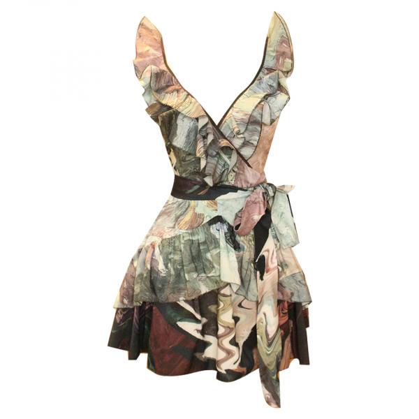 Macaron Fırfırlı Arkası Bağlamalı Elbise-İstek üzerine dikilir-