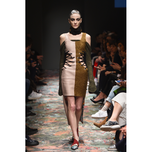 Striped Gaudi Dress - İçi Gaudi İpek Astarlı %100 Deri Pudra Rengi Belden İp Bağlamalı Özel Üretim E