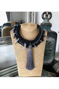 Silver Black Tassel Beads