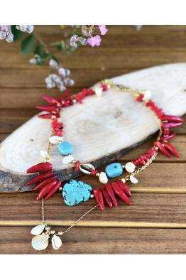 Aypen Accessories Turquoise&Coral Beads