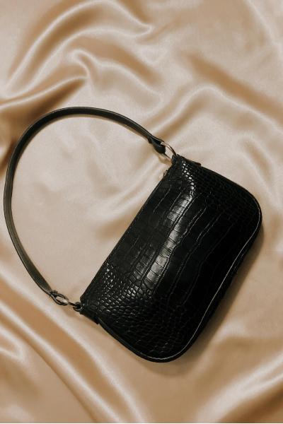Siyah Krokodil Desen Baget Çanta