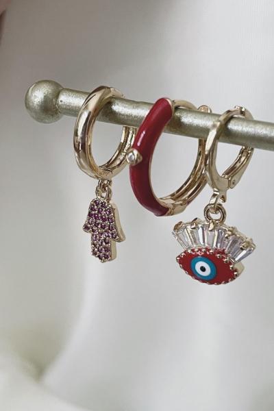 Red Charm Earring Set Red Charm Earring Set