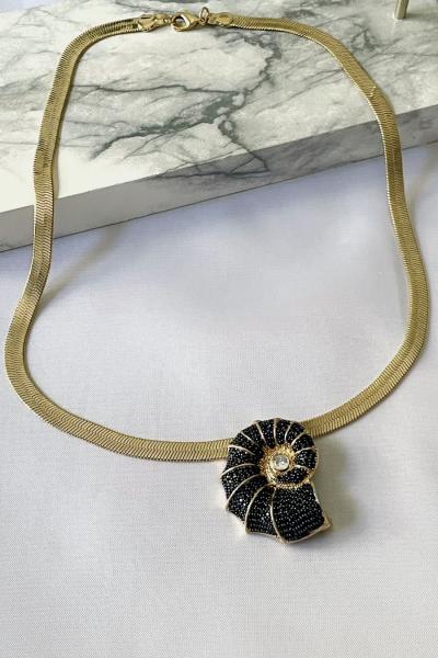 Black Snail Necklace Black Snail Necklace