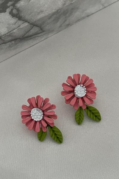Burgundy Flower Earring