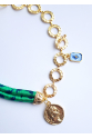Two Side Madallion Necklace in Green