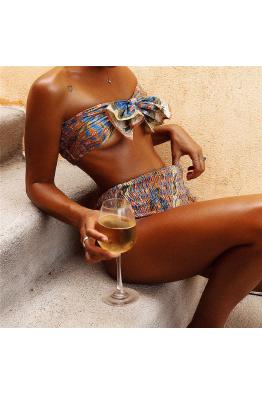 Lime & Lemon Swimwear Lime & Lemon Şal Desen Bağlamalı Yüksek Bel Bikini Takım LL18426