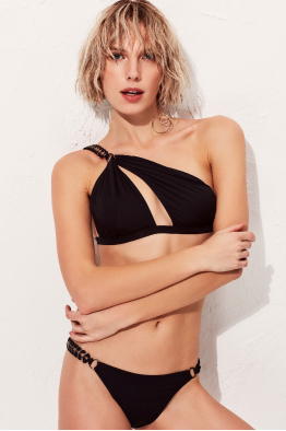 Less is More Heaven  Tek Omuz Siyah Bikini Üstü LM18115 Black