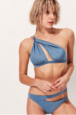 Less is More Heaven  Tek Omuz Mavi Bikini Üstü LM18115 Blue