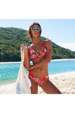 Lime & Lemon Swimwear Lime & Lemon Kırmızı Çiçek Desenli Bikini LL18428