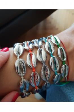 Make a Wish Gümüş Deniz Kabuğu Halhal-Mavi İp