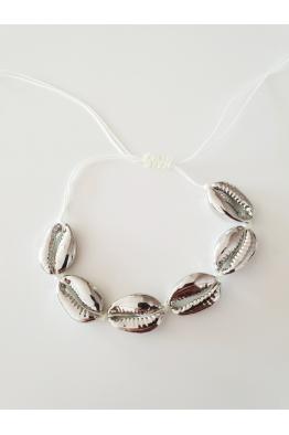 Make a Wish Gümüş Deniz Kabuğu Halhal-Beyaz İp