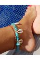 Mavi Doğal Taşlı Deniz Kabuklu Halhal