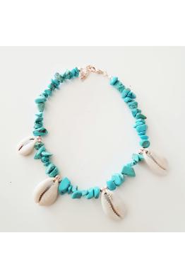 Make a Wish Mavi Doğal Taşlı Deniz Kabuklu Halhal