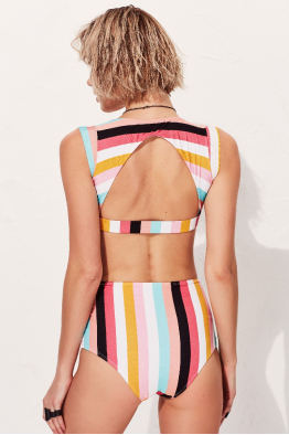 Less is More Bau Desenli Yüksek Bel Bikini Altı LM18205 Rainbow