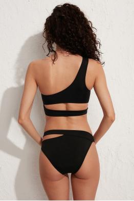 Less is More Roma Siyah Tek Omuz Bikini Üstü LM19101 Black