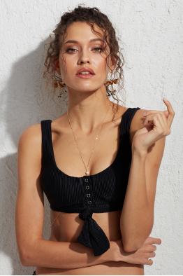 Less is More Tove Siyah Kalın Askılı Bikini Üstü LM18103 Black