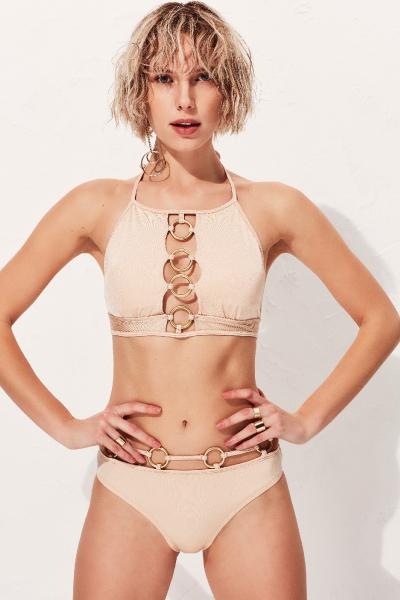 Clara Ten Rengi Halter Bikini Üstü LM18109 Nude