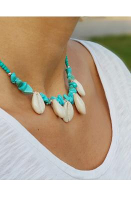 Make a Wish Mavi Doğal Taşlı Deniz Kabuklu Kolye