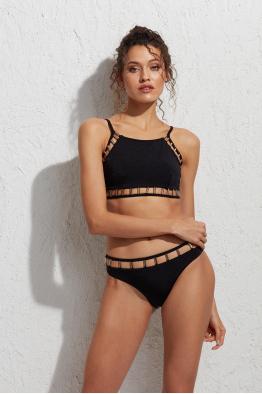 Less is More Theo Metal Detaylı Yüksek Bel Siyah Bikini Altı LM18208 Black
