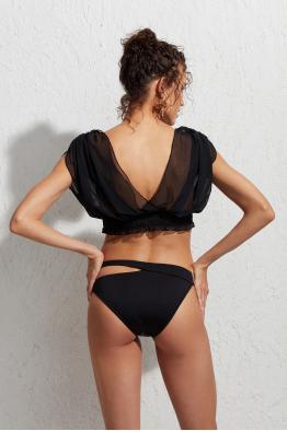 Less is More Bodrum Tüllü Üçgen Bikini Üstü LM19103 Siyah