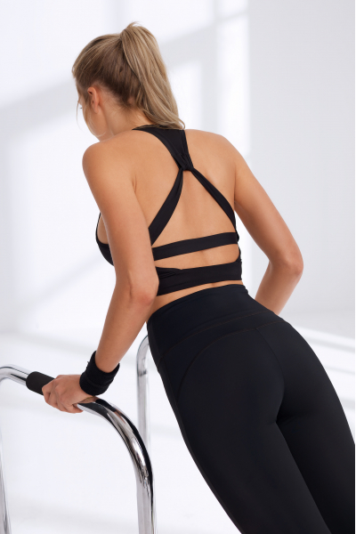 Sırtı Detaylı Siyah Sporcu Sütyeni / Spor Bra  LMA19102_Black