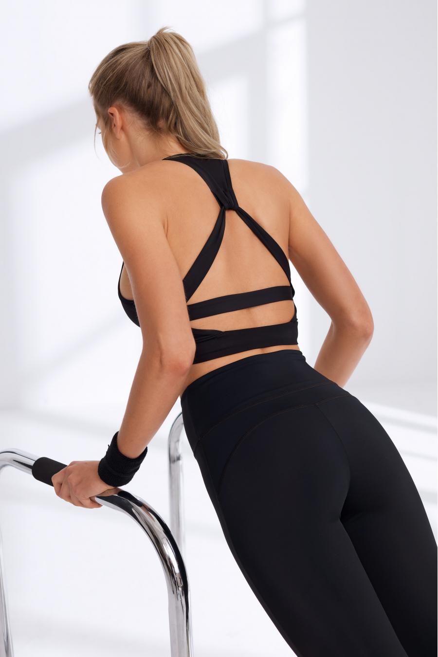 Sırtı Detaylı Siyah Sporcu Sütyeni / Spor Bra