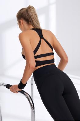 Less is More Sırtı Detaylı Siyah Sporcu Sütyeni / Spor Bra