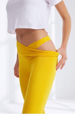 Less is More Sarı Yüksek Bel Spor ve Yoga Taytı 208213_SARI