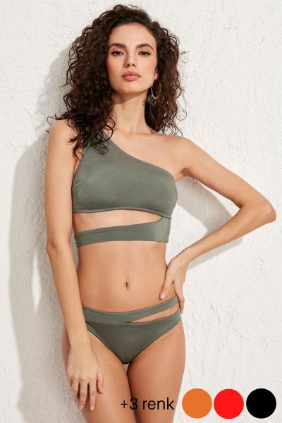 Roma Tek Omuz Haki Bikini Üstü LM20101_Army