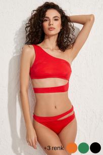 Roma Tek Omuz Kırmızı Bikini Üstü LM20101_Red