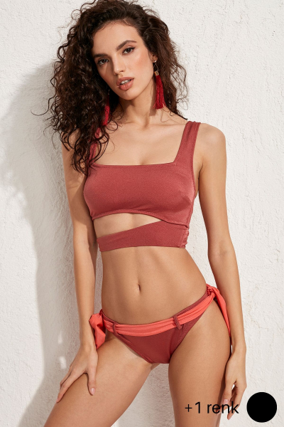 Paris Askılı Bordo Bikini Üstü LM20102_Rose