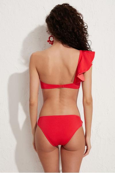 Kate Fırfırlı Straplez Kırmızı Bikini Üstü LM20106_Red