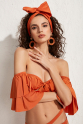 Helen Straplez Tak-Çıkar Kollu Fırfırlı Bikini Üstü LM20107_Orange