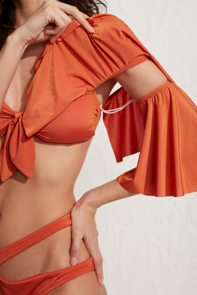 Helen Straplez Tak-Çıkar Kollu Fırfırlı Bikini Üstü LM20107_Orange Helen Straplez Tak-Çıkar Kollu Fırfırlı Bikini Üstü LM20107_Orange