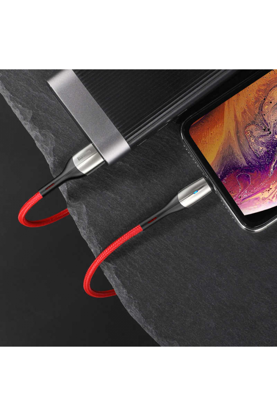 Baseus Horizontal Data Cable (With An İndicator Lamp) USB For IPhone 2.4A 1M
