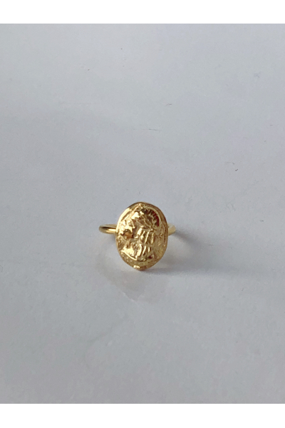 Anar Güzel Medallion elliptic vintage ring