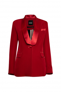 SHAWL COLLAR RED TUXEDO SUIT