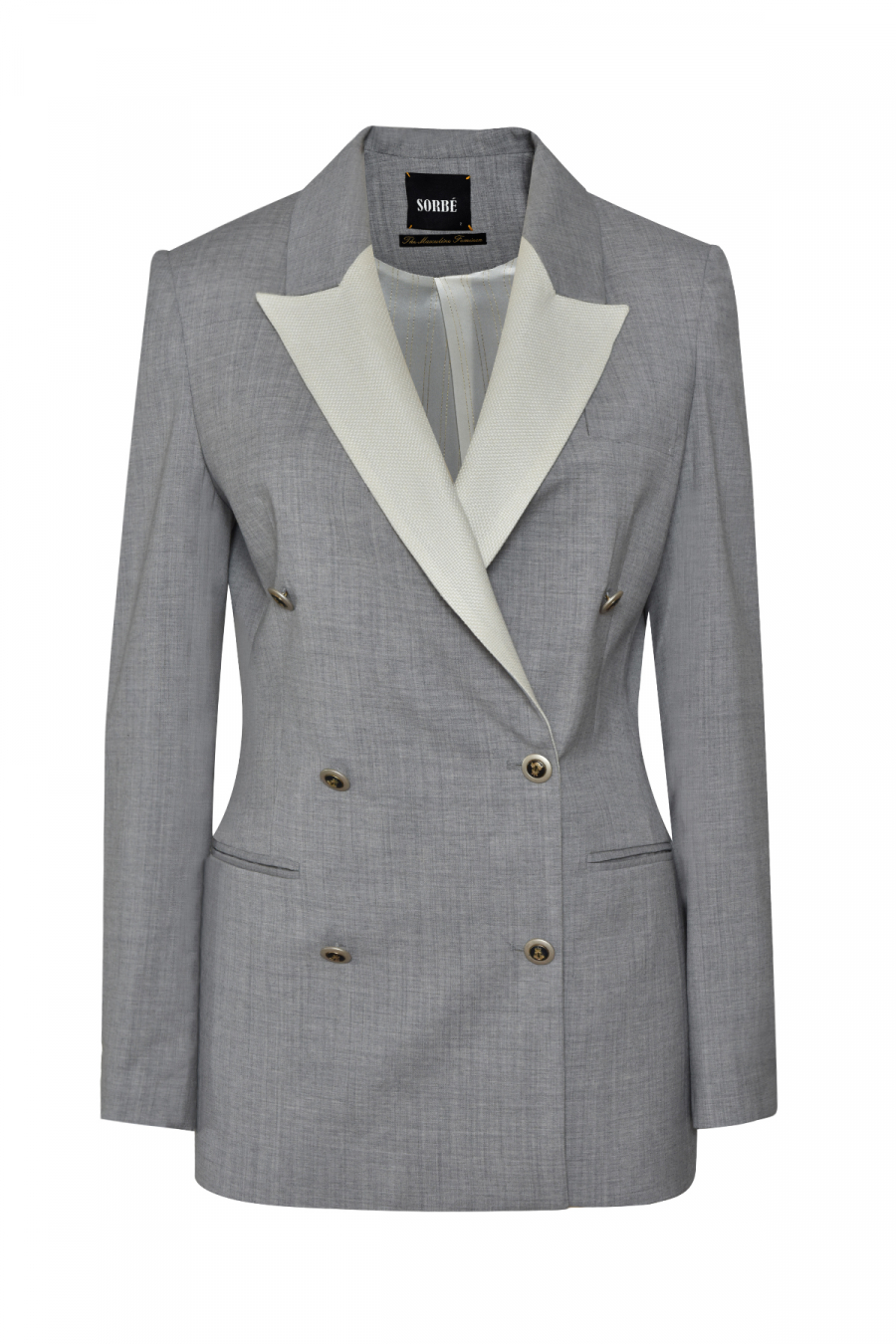 6 BUTTONS DOUBLE BREASTED GREY WHITE COLLAR