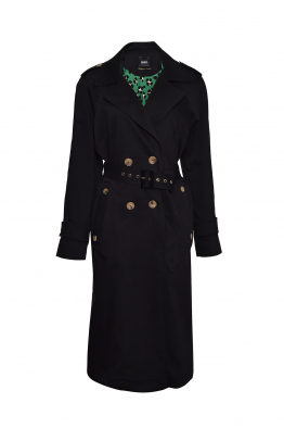 Sorbé TRENCH COAT DOUBLE BREASTED EPAULETS BLACK ORCHID