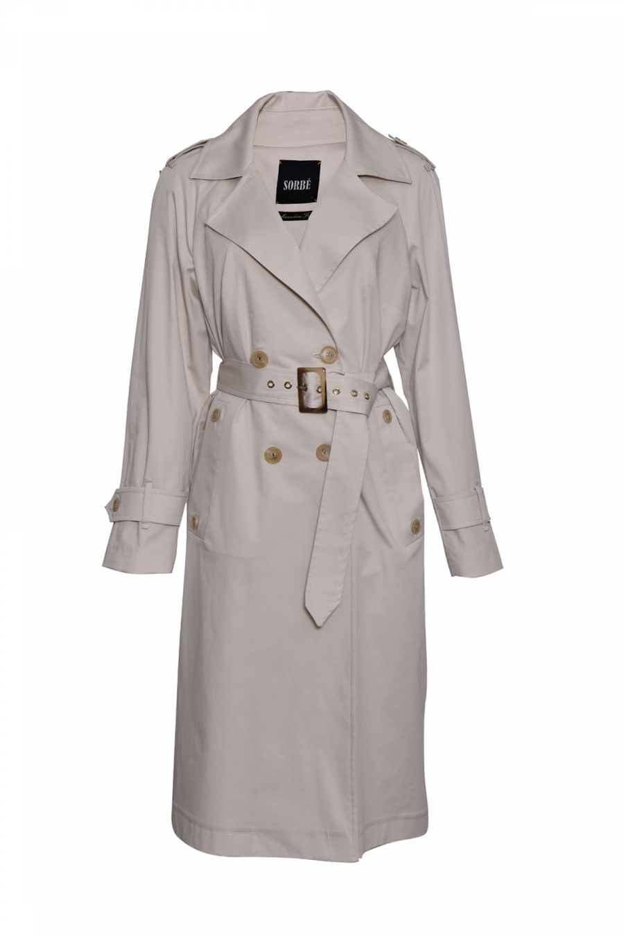 TRENCH COAT DOUBLE BREASTED EPAULETS MILKY