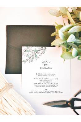 Yaprak motifli davetiye