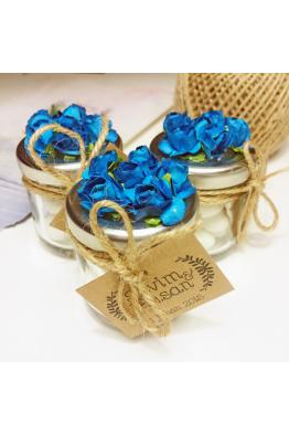 Mavi Çiçekli Badem Şekeri Kavanozu