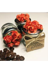 Turuncu Çiçekli Kahve Çekirdeği Kavanozu