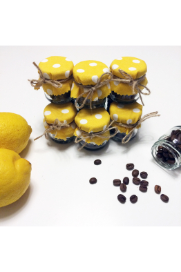 Sarı Puantiyeli Kahve Çekirdeği Kavanozu