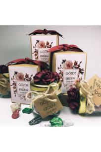Bordo Çiçekli Çakıl Taşı Çikolata Kavanozu
